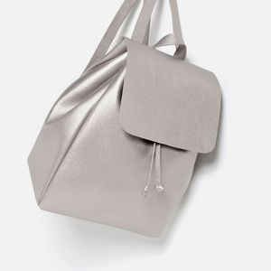 Zara Silver Backpack with Foldover Flap